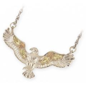 Sterling Silver Black Hills Gold Eagle Pendant