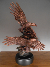 Double Soaring Eagles Statue