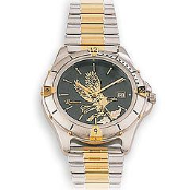 Men's Silver Tone Black Hills Gold Eagle Watch