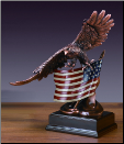 Soaring Bald Eagle with American Flag (SKU: M-51139)