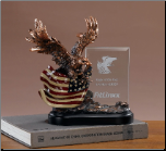 Bald Eagle on American Flag w/ Etching Glass (SKU: M-91149)