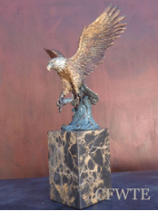 Trophy Catch Bronze Eagle Sculpture